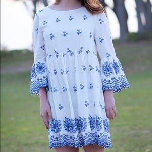 With a Whisper Blue & Ivory Embroidered Dress